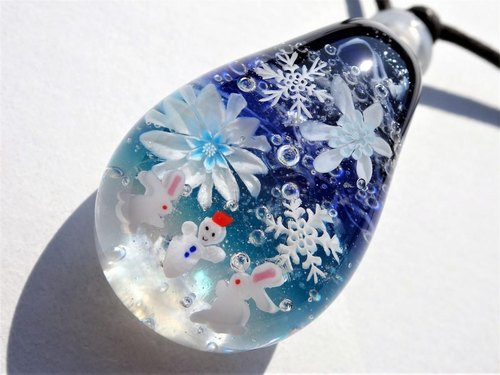 Snow leisurely pendant glass Tonbonball snowman rabbit snowflake