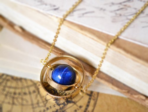Spinning planet Blue Tiger's eye stone necklace