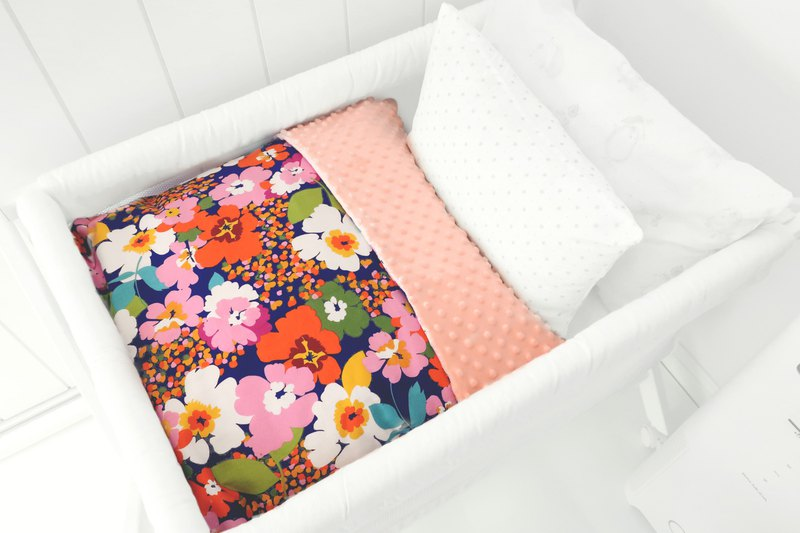 Hush Baby Handmade Receiving Blanket (Blossoming Flowers+Quartz)
