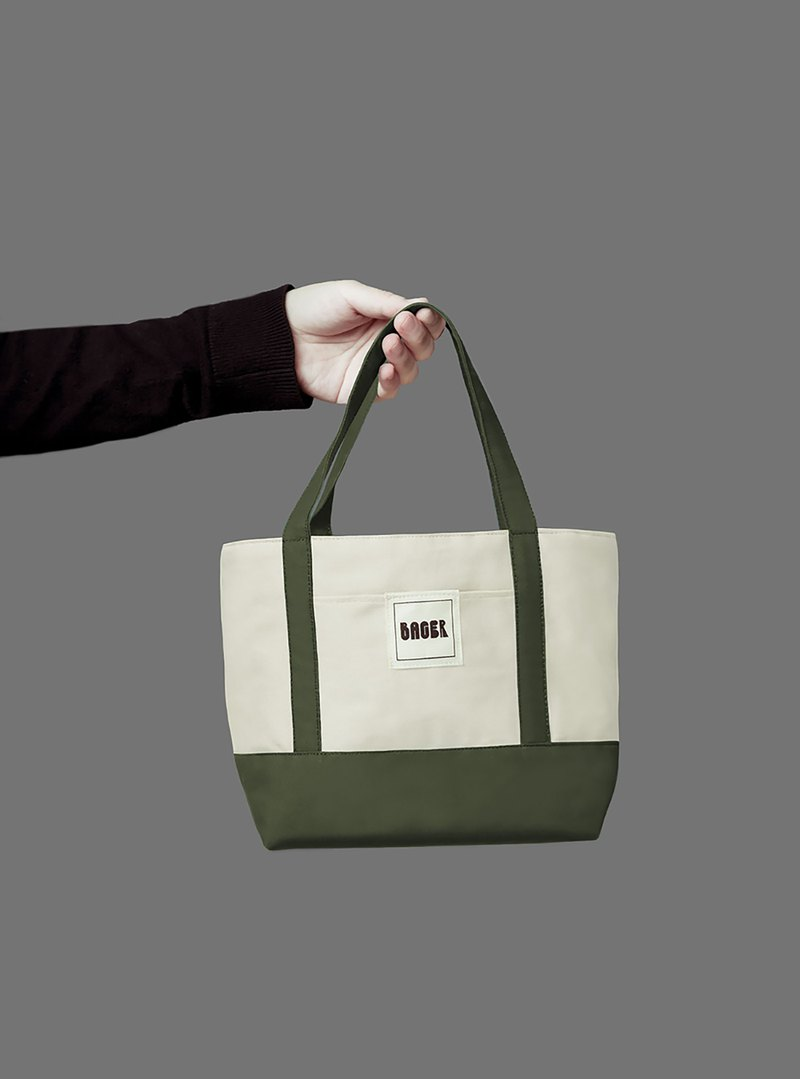 Classic color matching small tote bag / handbag / bento bag / beige + army green