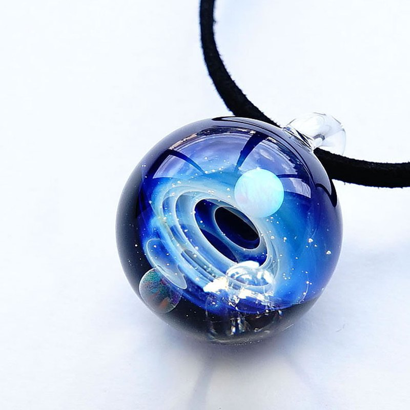Mysterious microcosm world 2 types of opal meteorite with ver aura universe glass pendant real meteorite star azusa japanese construction japan handcraft production handmade free shipping