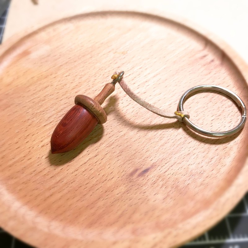 Long acorn (shell), wooden clog key ring