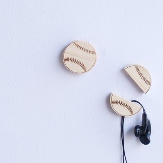 Wood baseball magnet set clip headphones storage consolidation lightweight new fashion style customized customer self word