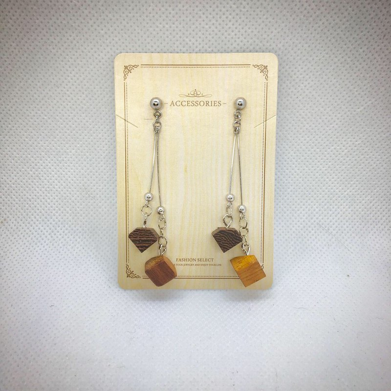 Woowood-handmade wooden dangle earrings geometric simple ear clip
