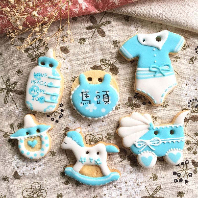 (Please ask the schedule and then order Oh) Simple and lovely | Pink blue saliva sugar cookies