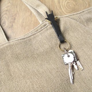 Rock x Hand Bag / leather waist Brass Keychain (free engraving)