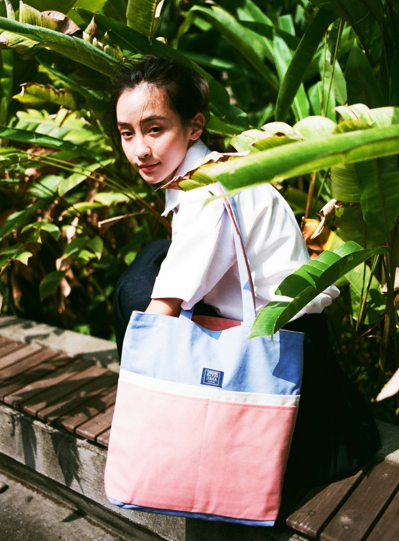 Shoulder Tote Bag _ Sky Blue Pink