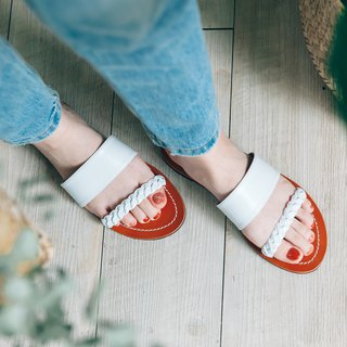 The more through the bright! The original color leather twist 辫 slippers vegetable tanned cowhide leather MIT-white