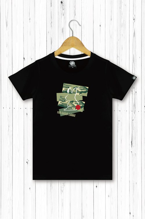 STATELYWORK Camouflage Red Tail Female Short T Women's Black