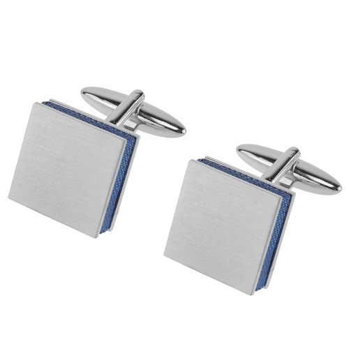 Brush Silver with Blue Edge Square Cufflinks