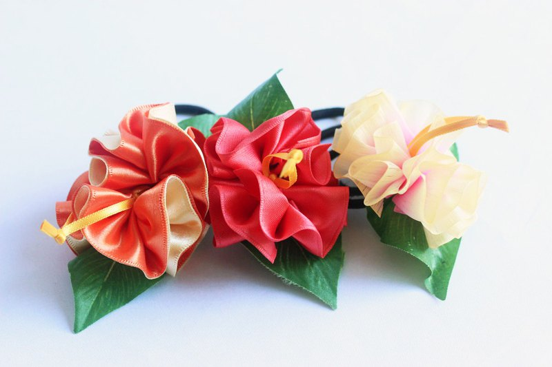 3ways hibiscus accessories,ponytail Holder(O3),hair bow,uke,