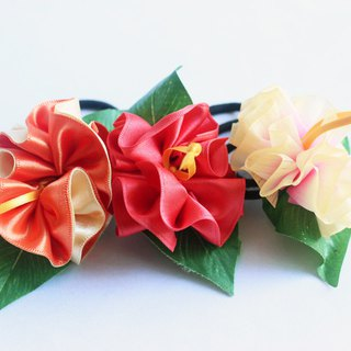 3ways hibiscus accessory,ponytail Holder(O3),hair bow,hair accessory,ukulele,uke