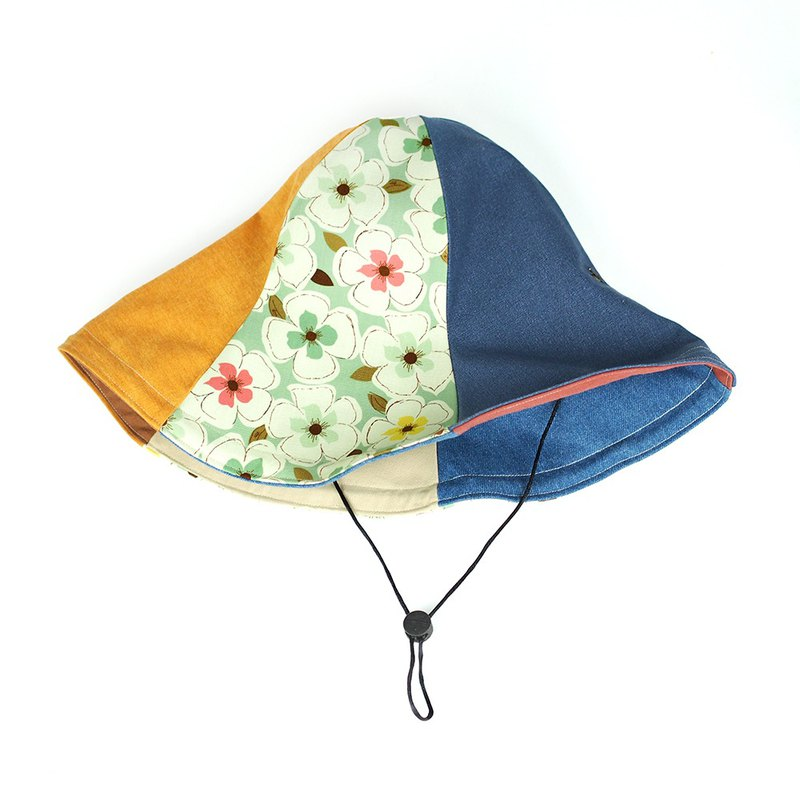 Maverick Village handmade double-sided hat big hat 檐 visor big flower [green flower] HB-27