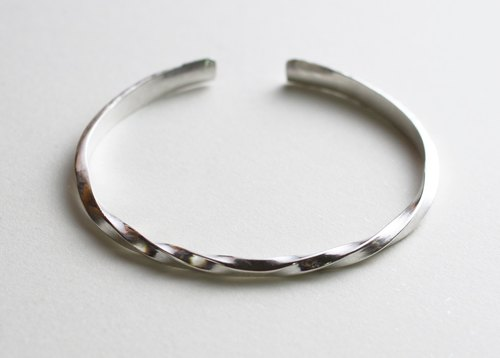 925 sterling silver hand forging double spiral C ring bracelet