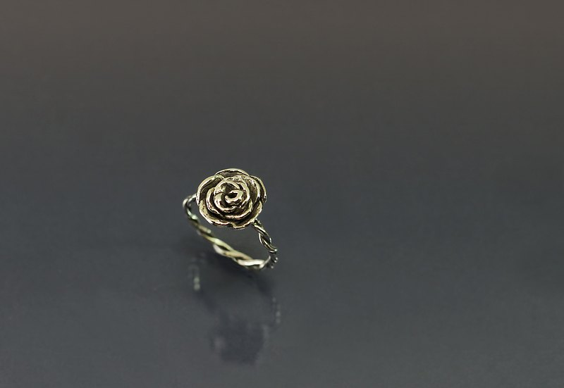 Flower Series-Hand Pinch Rose 925 Silver Ring (Medium)