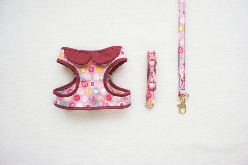 Can be customized. Cherry fruit color small circle walking composition 2 <Harnesses + + leash collar>