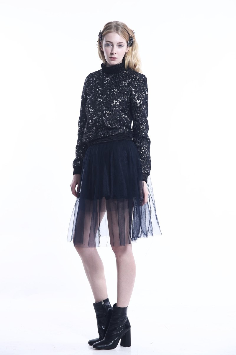 Metal blended jacquard cloth mesh sweater spell