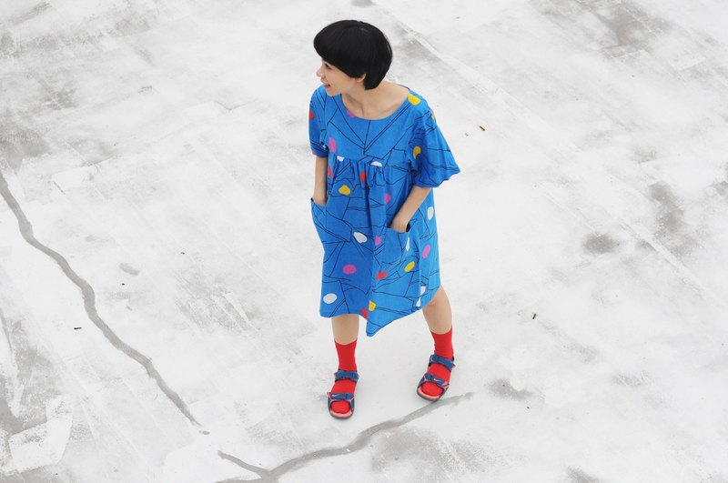 Par - blue geometry loose big pocket cotton dress / only one / 100% cotton