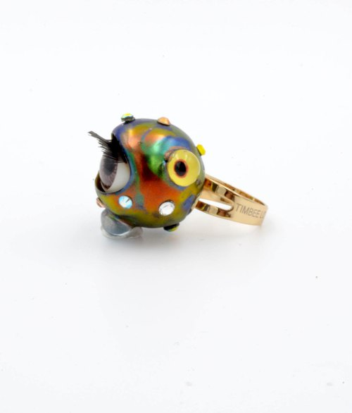 Symphony of Metallic Eyeball Ring Swarovski Crystal Alien Monster series