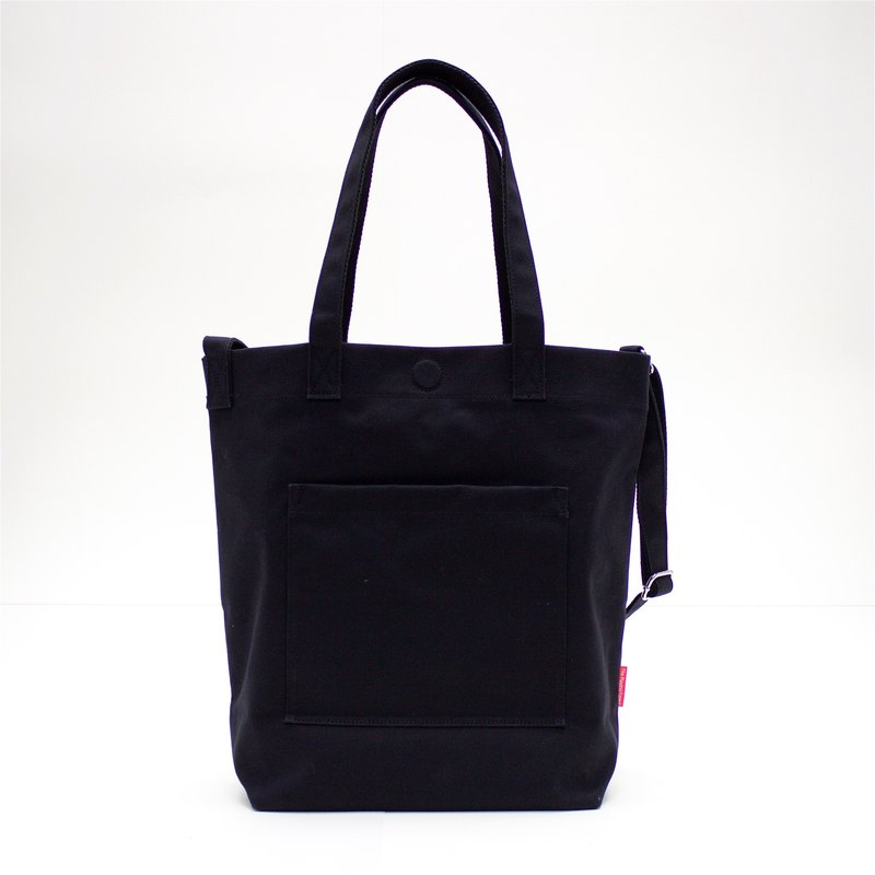 2 Ways Waterproof Heavy Canvas Tote Bag / Black