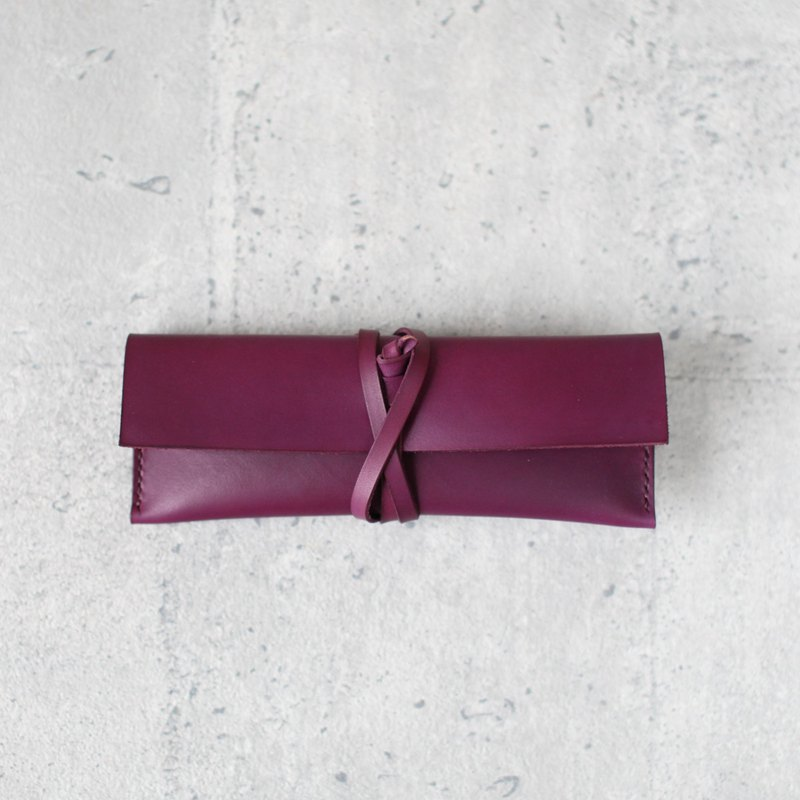 Grape purple leather pencil case