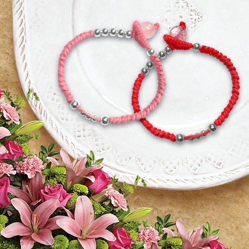 Couples Knot Silver Balls Bracelets | Red Couple Bracelet | Couples Bracelet