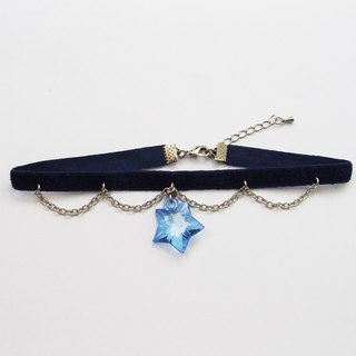 Navy blue velvet choker/necklace with blink blue star and silver chain