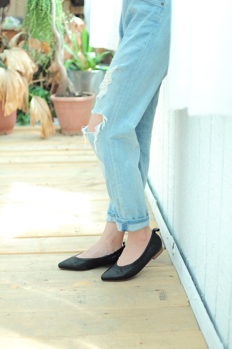 Clearance  Sale__Sheep Leather Ballet Flats Shoes (Black)