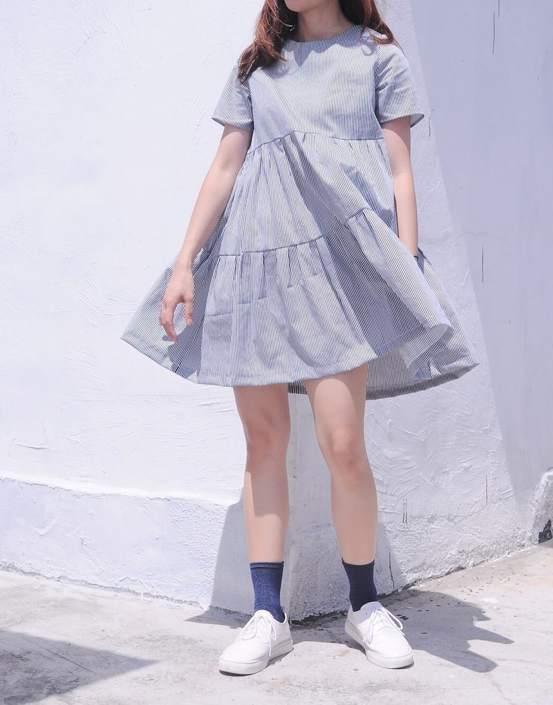 TAKE-Blue&white striped round neck doll dress