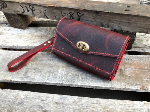 POPO │ Crazy Horse Leather │Cold Red .Accommodation Pack │True Leather