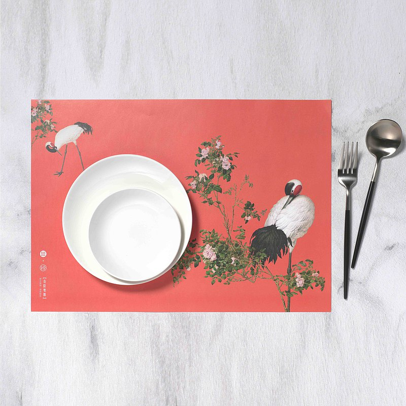 Placemat, Giuseppe Castiglione, Paired Cranes in the Shade with Flowers, 10pcs