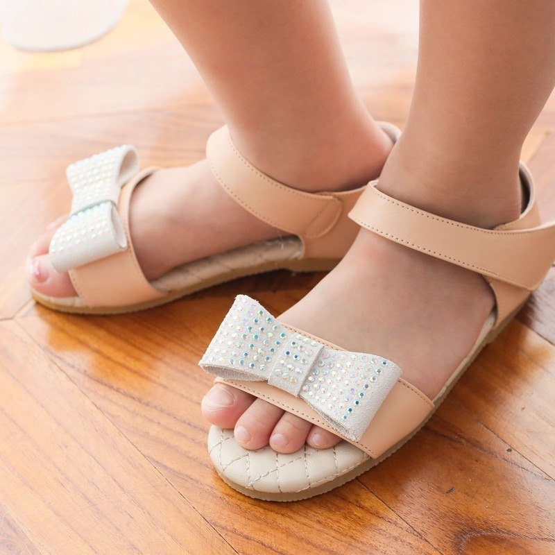 (Zero Special) Bling Bling bowknot leather sandals - honey powder