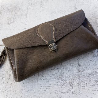 "Genuine leather wallet ""series-envelope"" khaki"