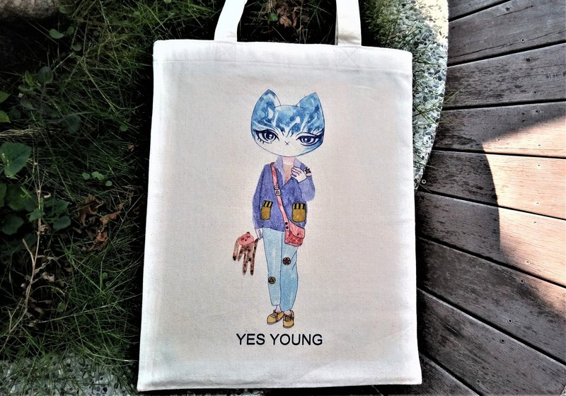 [Blue Mickey Cat] Mitty Cat Canvas Bag / Canvas Bag / Cloth Bag