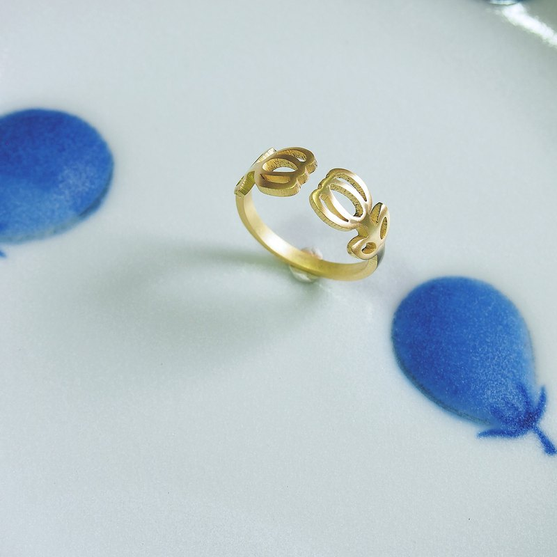 Twin Tulip brass ring (adjustable free size)