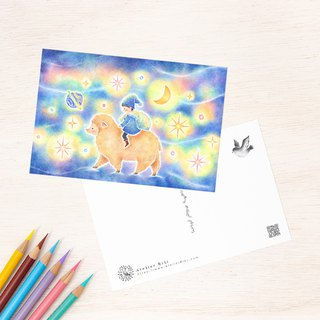 "4 pieces set. Like a picture book. Postcard ""sheep and children gathering stars"" PC-394"