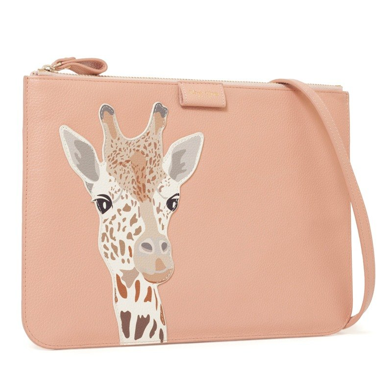 Fantasy World Giraffe Appliqué Leather Sling Bag