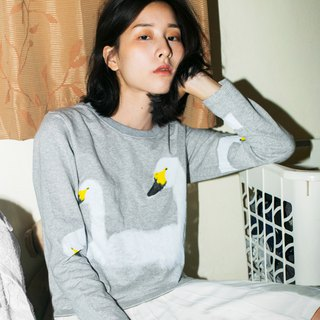 swans - long sleeve crop top
