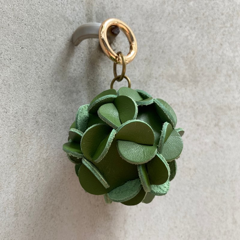 Vegetable-tanned cowhide embroidered ball key ring-Matcha green Valentine's Day wedding charm