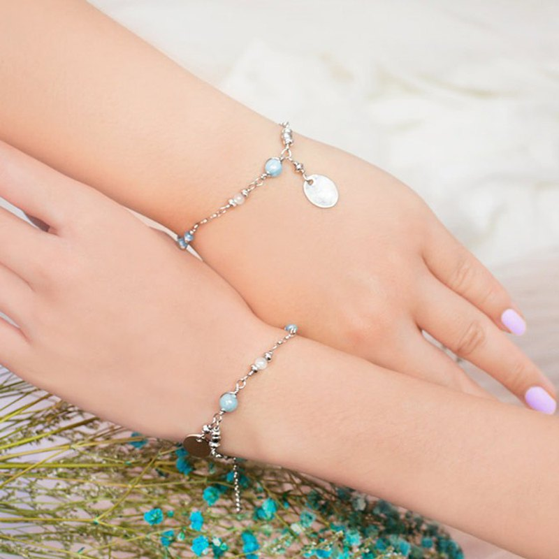 *Girlfriend Bracelet*Stainless Steel Aquamarine Pink Party