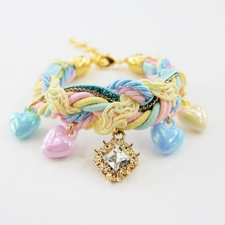Pastel braided bracelet with square diamond and pastel heart charm