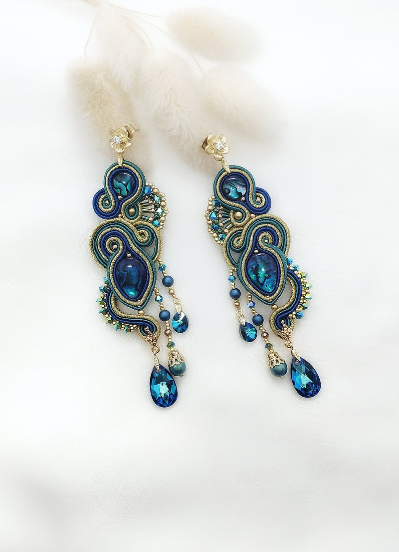 Blue and green color Chinese style earrings