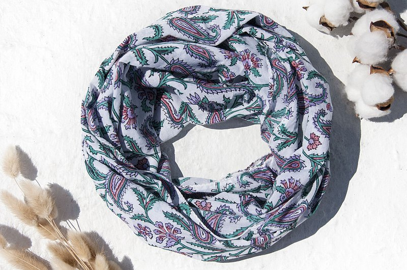 Handmade pure cotton scarves handmade woodcut printed plants dyed scarves grass dyed cotton scarves-English flower garden