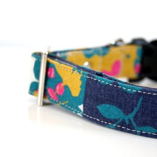 Cotton Linen Botanical Dog Collar - mustard, purple, blue green-Size small