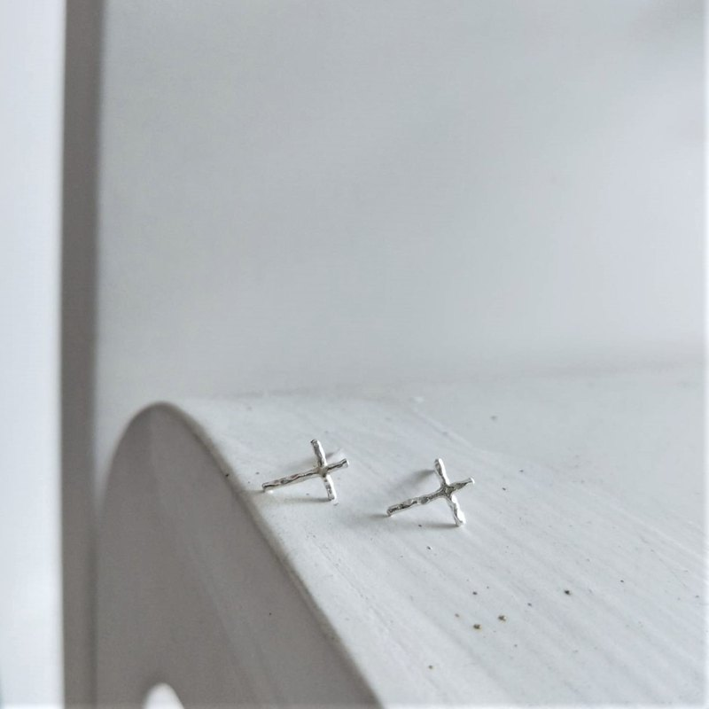 │Simplified │ very fine cross earrings • sterling silver earrings • designer original