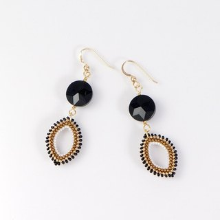 Dangle Drop Black Gold Earrings, onyx stone, 14K gold filled, 389