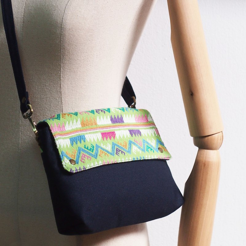 Tribal Crossbody Pouch : W 13 -  Hmong hill tribe Cross-stitch Works