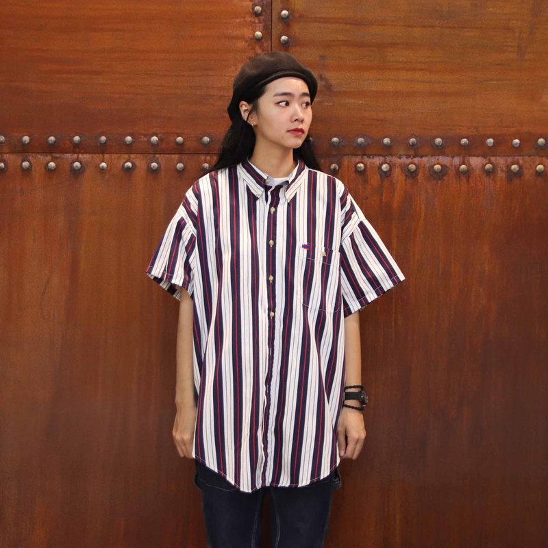 Tsubasa.Y Antique House A18 Colorful Striped Shirt, Striped Shirt Short Sleeve Summer