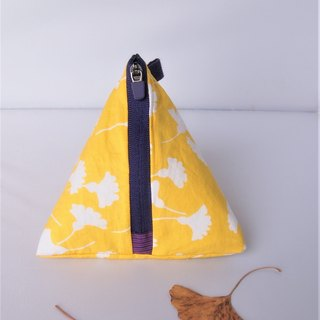Triangle Zip Pouch (Yellow Gingko)