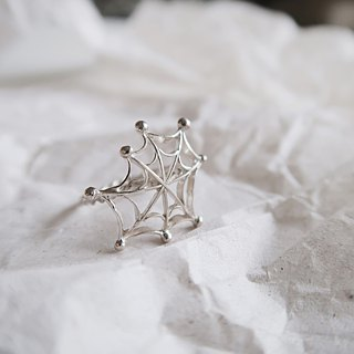 925 Silver Spider Web Ring